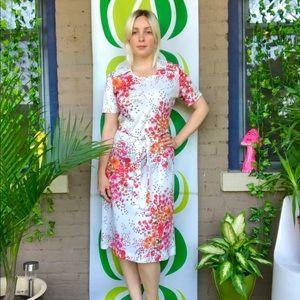 Vintage 60s Hawaiian flower power collared dress